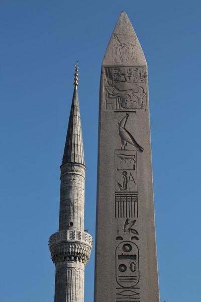 Contrasts- minneret and obelisk!