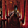 The Basilica Cistern, the largest surviving cistern built by the Byzantines in 532. There are 336 columns, many of which the Byzantines salvaged from ruined temples. The water was delivered from a series of aqueducts from a reservoir near the Black Sea.