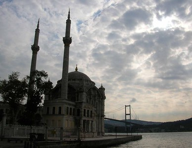 Mosque on the Bosphorus and, in the background, the bridge across to Asia