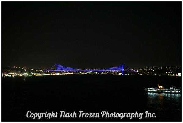 Galata Bridge at Night from the Ship<br /> istanbul, Turkey