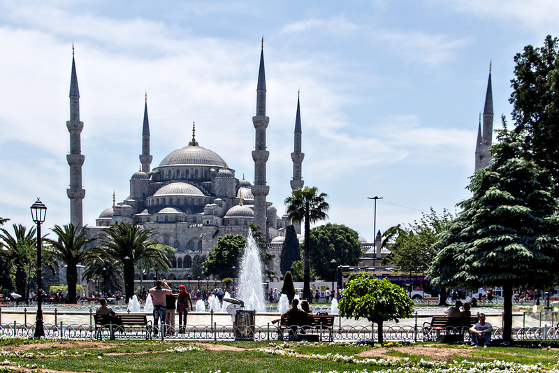 The Blue Mosque was built by Sutan Ahmet 1 who hoped that it would rival or surpass the beauty of the Aya Sofya. The mosque is named for the blue Iznik tiles that adorn the interior.
