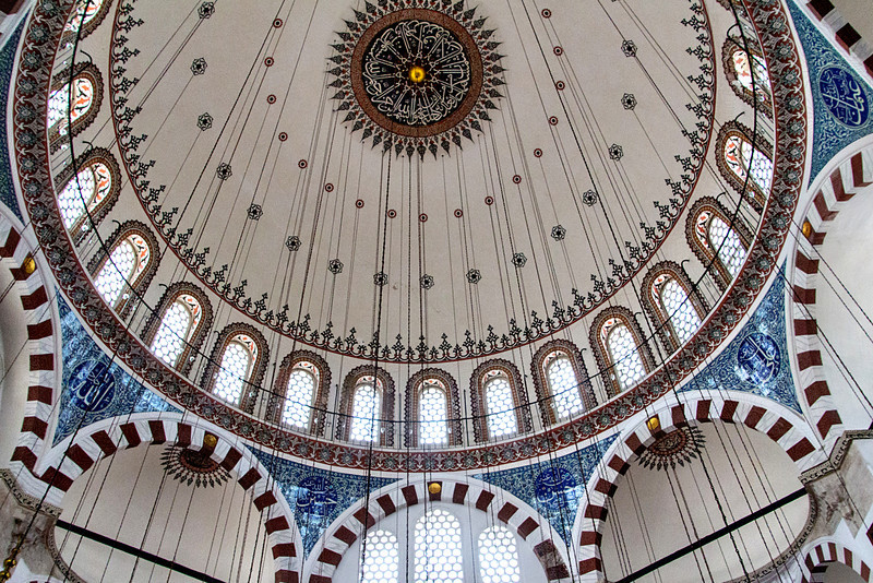 My favorite of the mosques was Rüstem Pasha Mosque, the smallest of those we visited, and rather unremarkable from the outside. Inside, however, it is simply gorgeous. Every wall is covered with a different design of Iznik tiles. It was built in the 1560's.