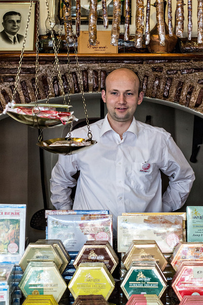 Selling Turkish Delight at Haci Bekir. We loved the hazelnut and pistachio Turkish Delight we purchased.