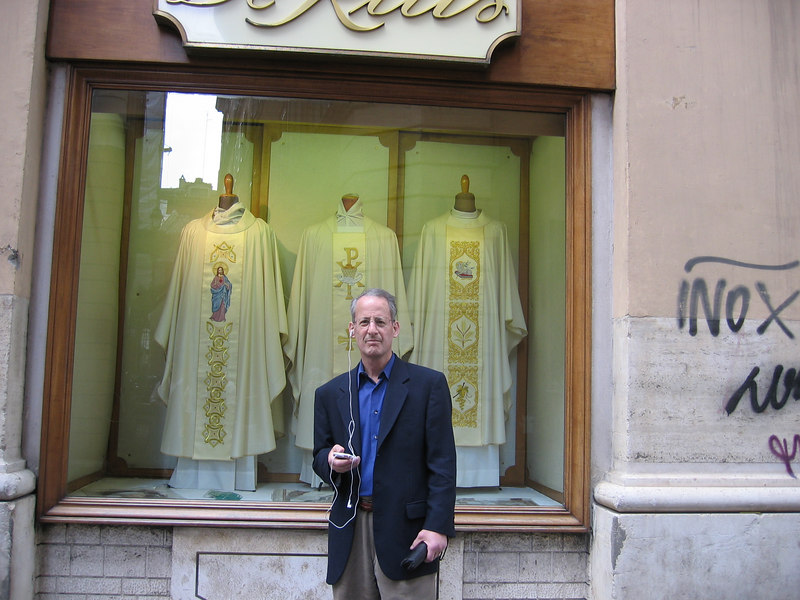 Displays of priestly garments near Sopra Minerva on self-guided ipod tour of Roma