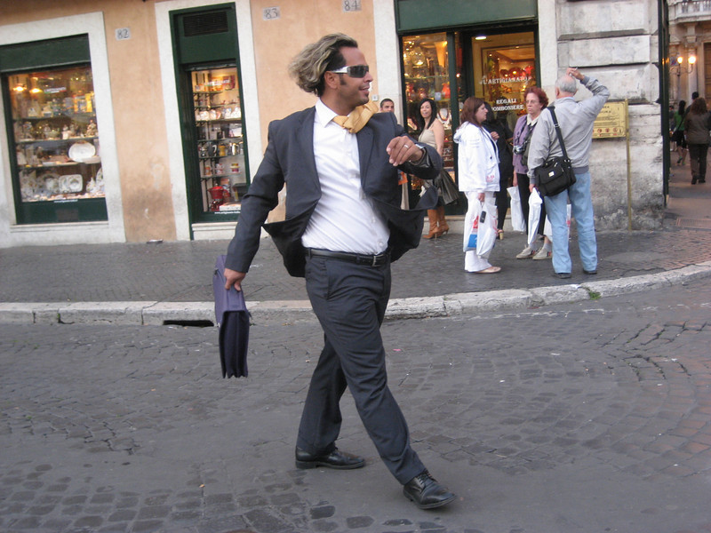 Living statue in the Piazza Navona, Rome -- he has been there for four years.