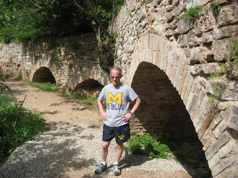 Recently excavated Roman aqueduct above Spello -- Go Blue.