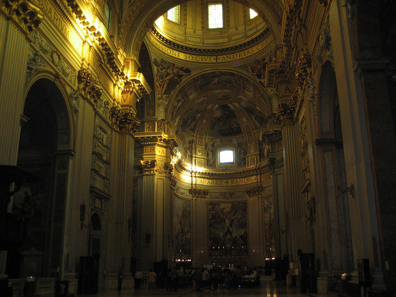 Sant'Andrea della Valle interior at dusk, Rome.