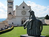 Norberto sculpture of St. Francis in front of the Basilica di San Francesco, Assisi