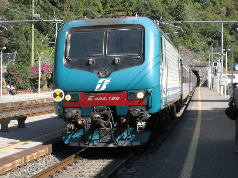Monterosso - one of the Regionale trains arriving at the station.  Travel by train is the easiest and quickest way to get around the area.