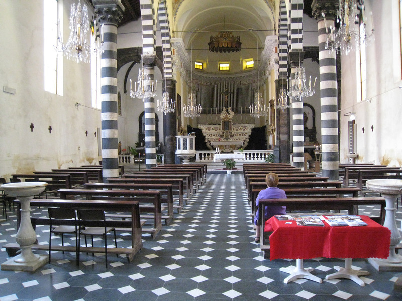 Monterosso - the interior of the impressive Santa Croce Church.  This was heavily damaged in the floods of 25 October 2011, but has been restored.