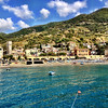 "Cinque Terre / Monterosso - this is a view of the ""old town"" area, as seen from the water."