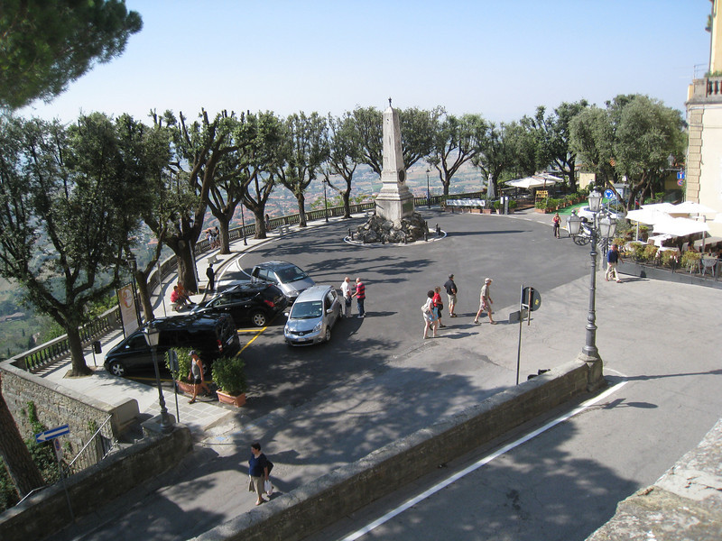 Cortona - this is the small Piazza near my Hotel.  This location provided beautiful views out over the valley and towards Lake Trasimeno.  This is also the location where the Bus to the station departs from.