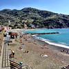 Cinque Terre / Levanto - this is one view of the beautiful beach that's located in the gently curving bay.  It extends for an equal distance behind me.