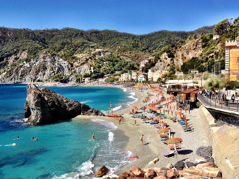 "Monterosso - this is a view of the beach area in the ""new town"" (Fegina).  The ""old town"" (which is behind me) has a slightly smaller beach area."