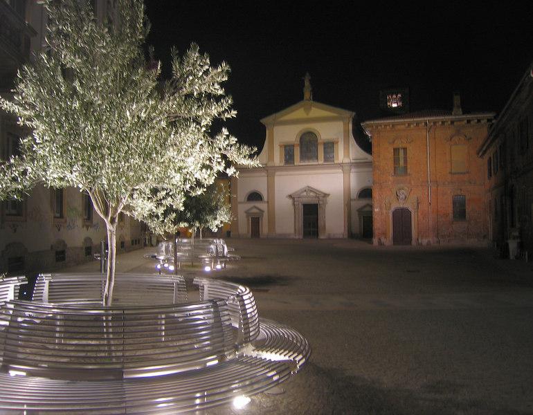 Lit olive tree in Monza courtyard