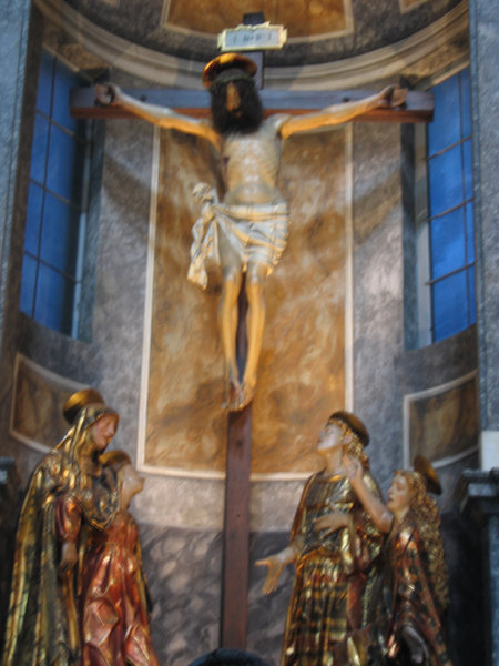 Cross at Duomo di Como - I found Christ's full beard and hair interesting (blurry)