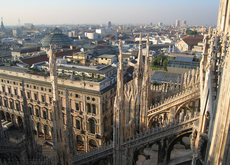 On top of Duomo di Milano - looking down on (I think) Galleria Vittorio Emanuele