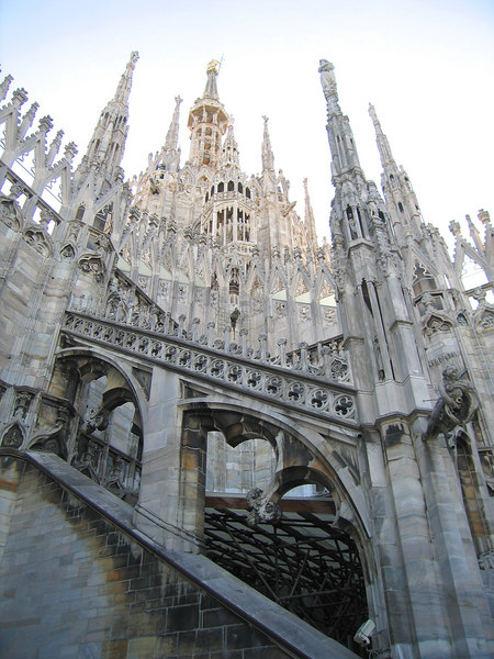 On top of Duomo di Milano - Looking up at spires