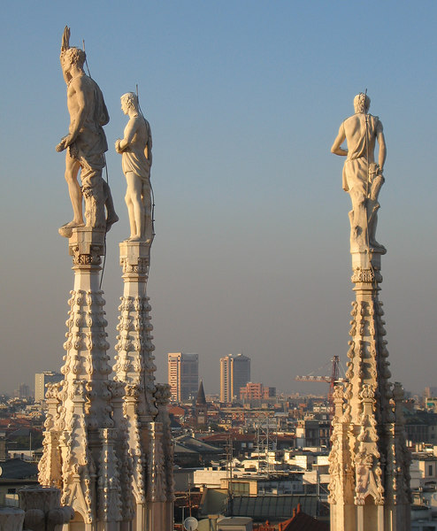00aFavorite On top of Duomo di Milano - Three sculptures looking out over spires