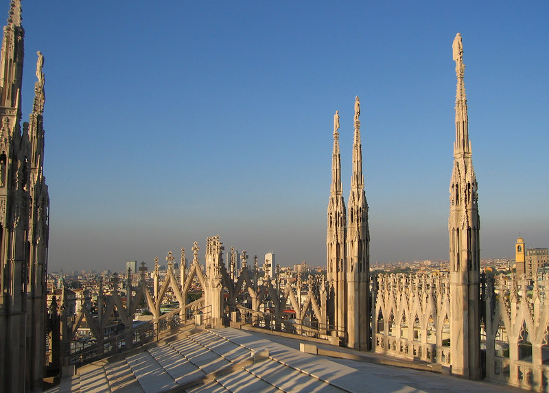 On top of Duomo di Milano - Looking out at city 2