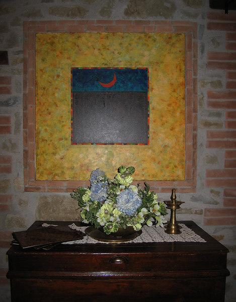 Decor in dining area incl painting and flowers, Country House Montali