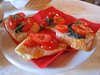 Tomato with bread, breakfast at Country House Montali (bit blurry)