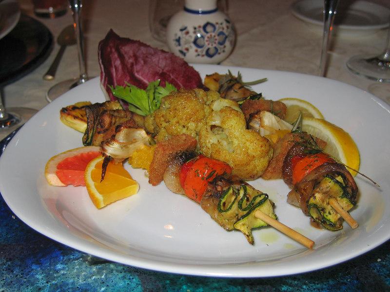 3rd Course - Vegetable skewers w seitan served w spicy cauliflower