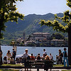 The waterfront in Orta San Giuilio with San Giulio Island on the lake.
