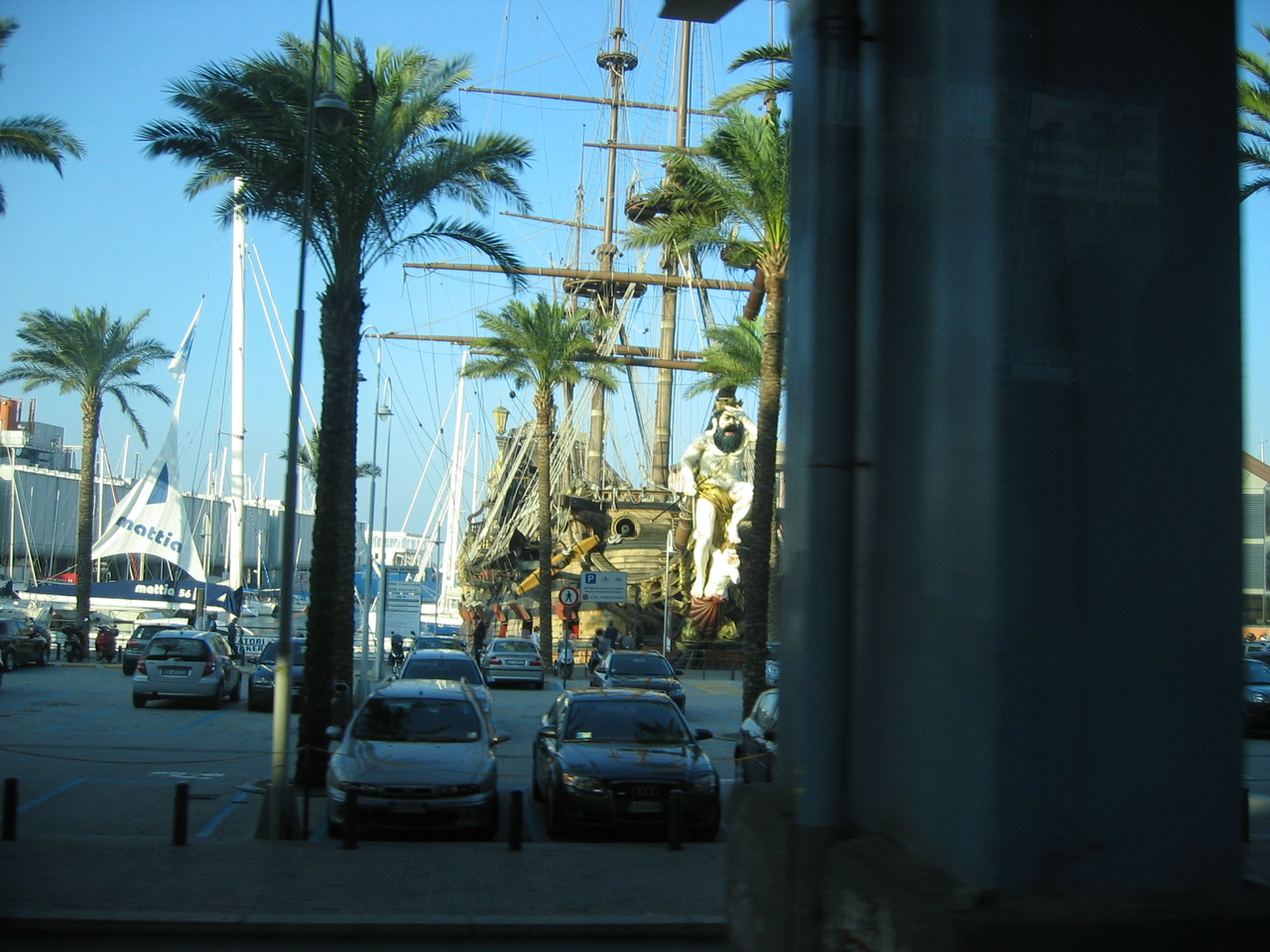 Pirate Ship reproduced for movie, sits at Port of Genoa.