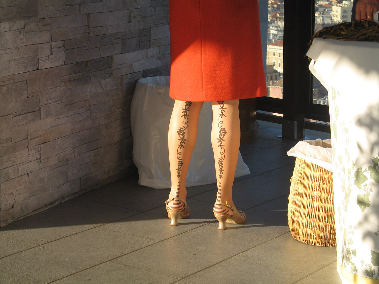 View of our guide Antonella's beautiful tattoed legs (just kidding, they're stockings).