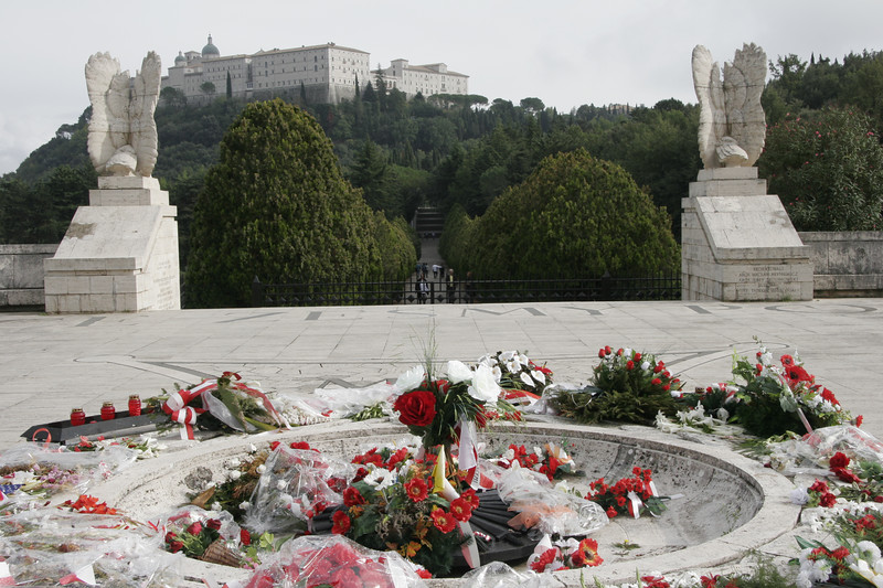 Polish cemetery at Montecassino with view of monastery