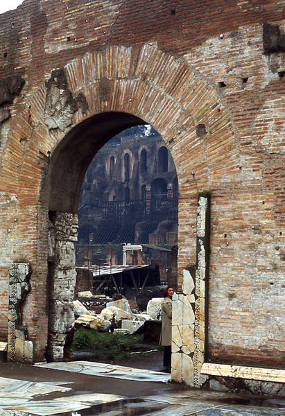 An archway at entrance to the Roman Forum.