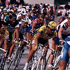 Giro Italia, Nikon F4, 24mm lens. Rider in lead is the late Marco Pantani.