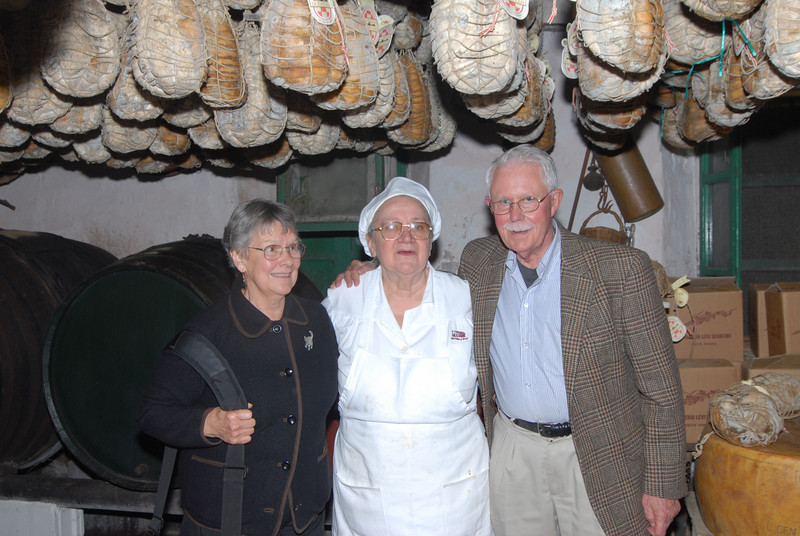 Anne and I with Mariam Leonardi, owner/chef of La Buca, a restaurant in Zibello that produces and serves culatello.