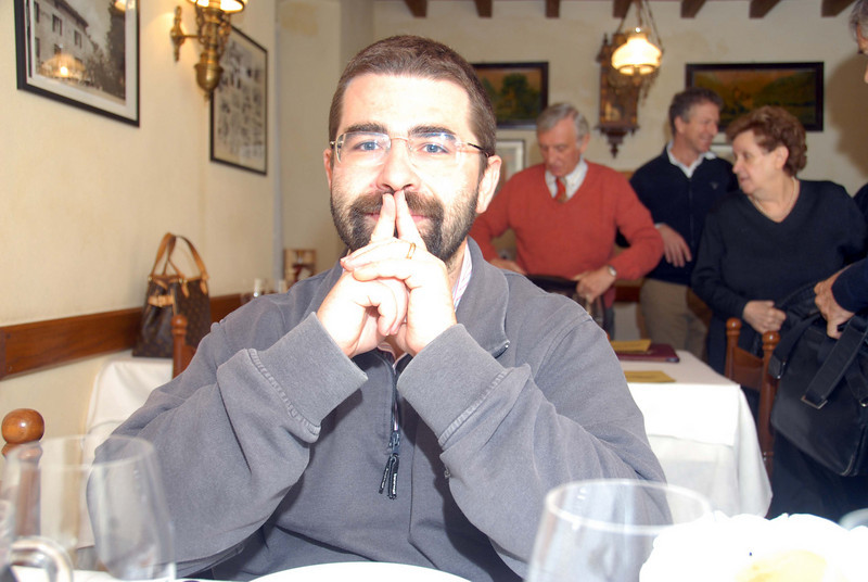 Dino Brusco, our photographer friend, in a pensive pose during lunch in Zibello.