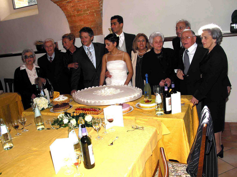 Wedding party in Umbria. The bride and groom spent their honeymoon in British Columbia and Washington State, including two days at  our home near Olympia.