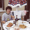 Although Anne and I have made many culinary pilgrimages to Italy, we often hunger for Mexican food. Here, Anne chows down on tacos, enchilladas and refried beans that we cooked at a bungalow we rented along Lake Garda in 1986.