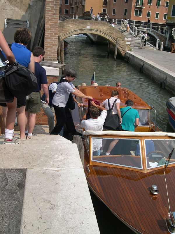 Boarding the water taxi for our grand entrance on the Grand Canal.