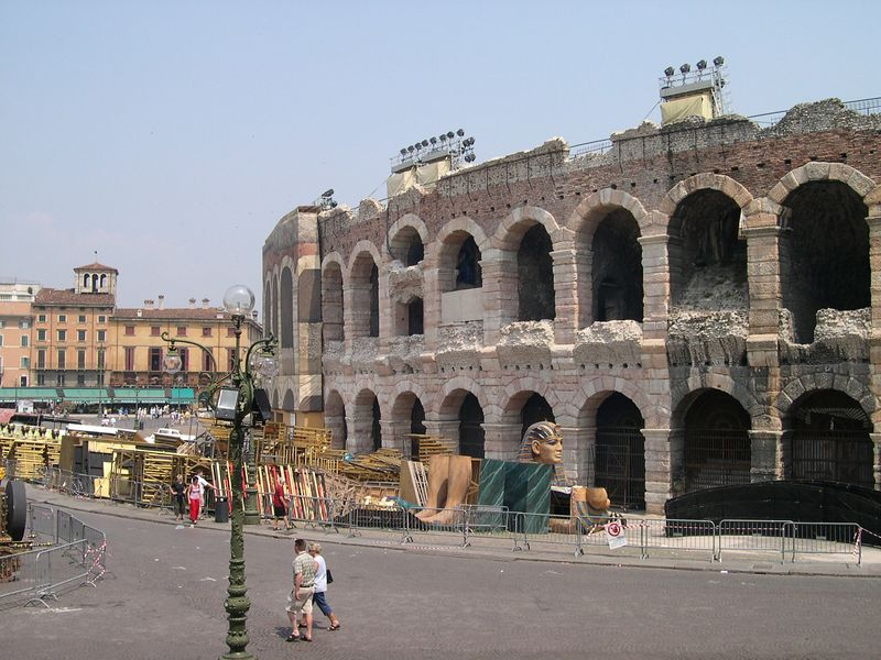 Arena di Verona, an ancient Roman outdoor theatre. Opera performance are held here in the summer.