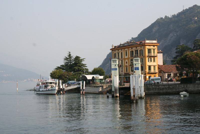Varenna, Lago di Como - Waterfront, Ferry docks and Albergo Olivedo.