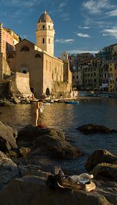 Swimmer in Vernazza Harbor, Cinque Terre