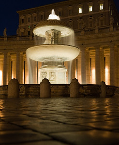 Fountain and Papal apartment in St. Peter's Square