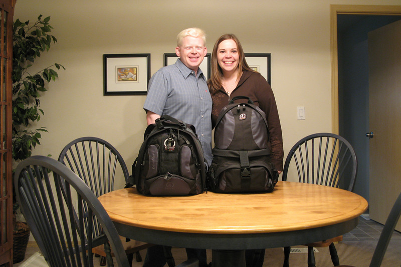 Ben & Sarah with their camera bags.  Little did we know at the time, this would be all we would have for five days.