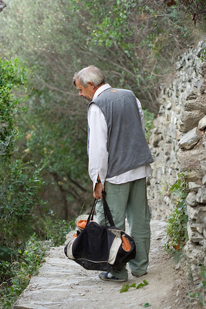 Local tending to the path from Vernazza to Corniglia, Cinque Terre