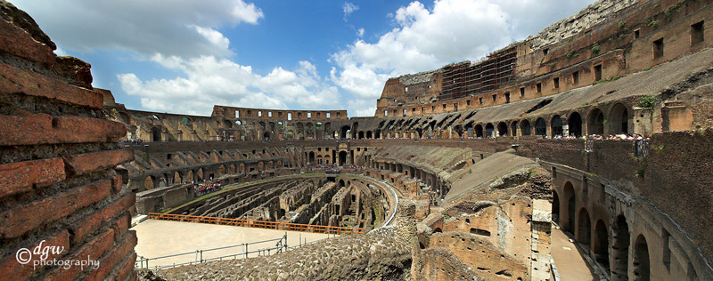 Inside of Colosseum Pano  made up of 3 rows of 16 total photos