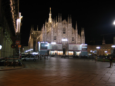The Duomo in Milan at night.  Notice the corporate names emblazoned across the front.  These are the sponsors of the current phase of restoration.  Even at night there is still a crowd around the church.