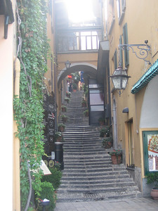 From Como, we took a hydrofoil on the lake to the town of Bellagio, where we walked up and down steps like these to visit all the little boutique shops.