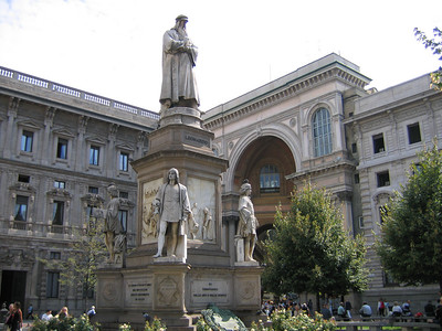 A statue of Leonardo Da Vinci in the piazza della Scala, Milan (by Pietro Magni).  Da Vinci spent much of his earlier working life in Milan.