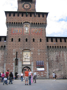 A tower at Sforza Castle in Milan