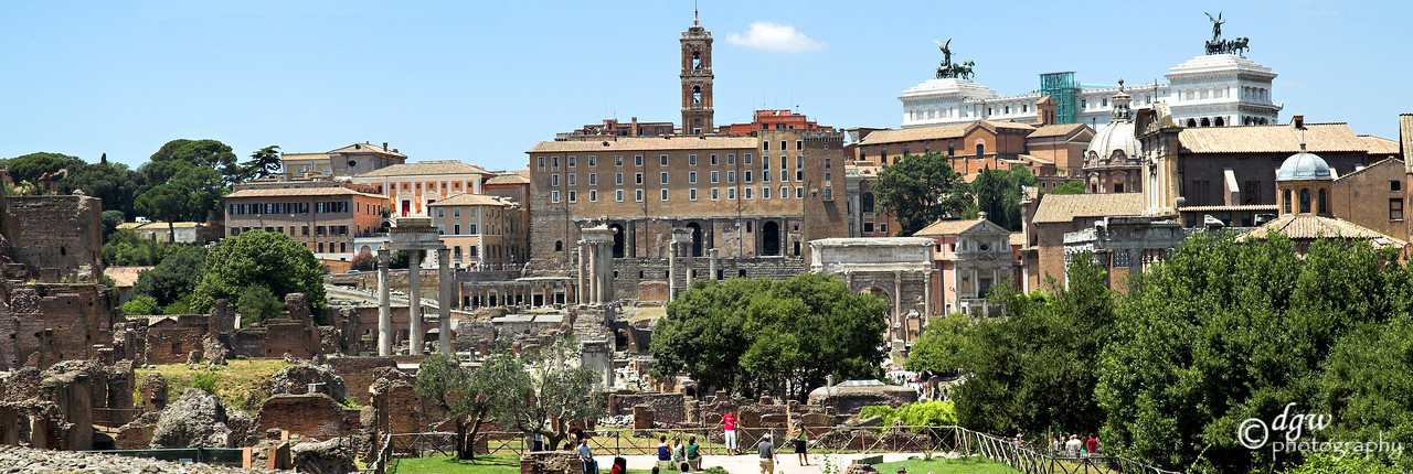 Grounds outside of the Colosseum on the main street leading to it. made up of 3 photos